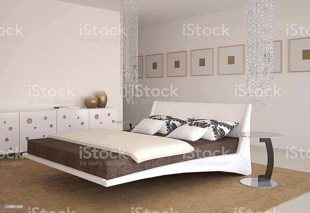 Modern bedroom interior. royalty-free stock photo