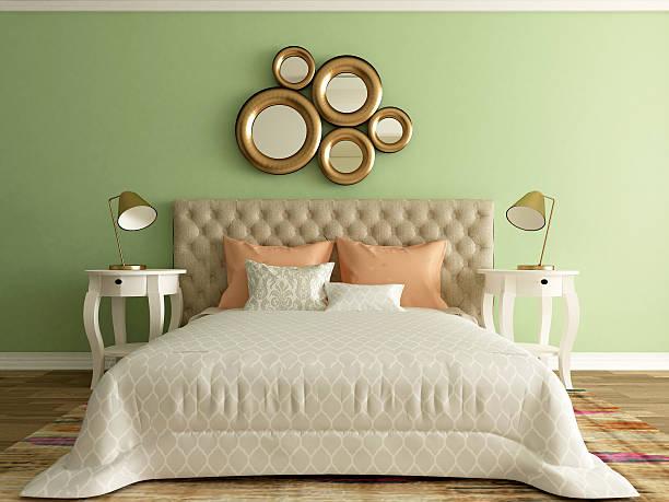 moderne schlafzimmer interior - lila, grün, schlafzimmer stock-fotos und bilder