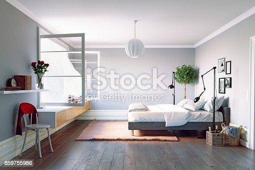 istock Modern bedroom interior 859755986