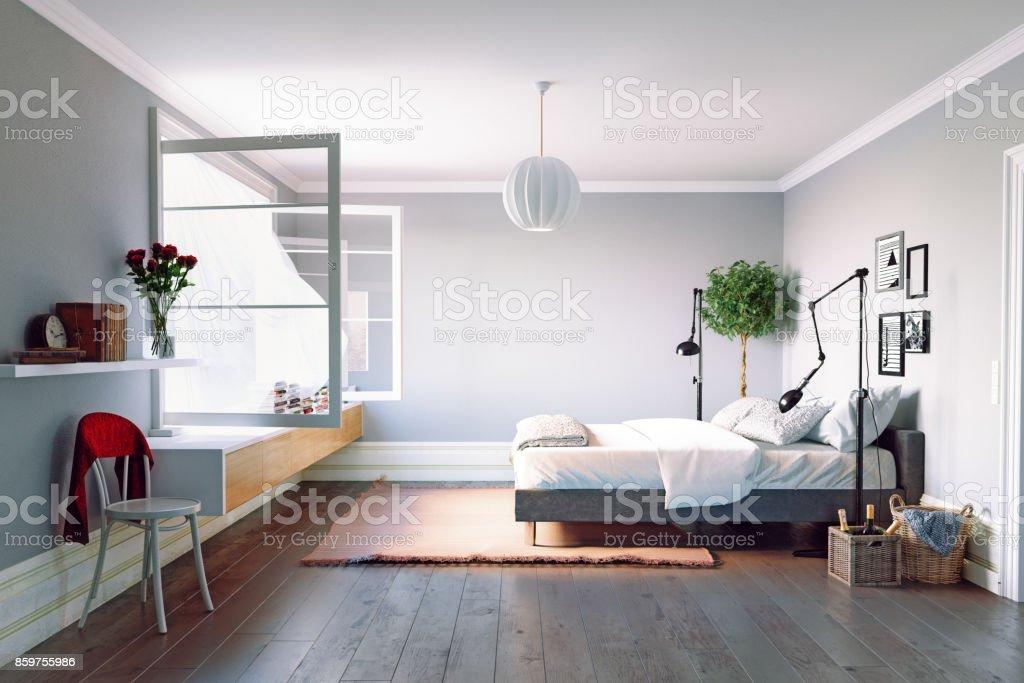 Moderne slaapkamer interieur foto