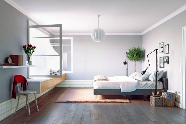modern bedroom interior - wind stock photos and pictures