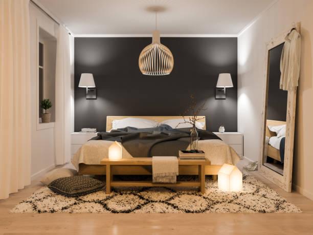 moderne schlafzimmer interior - schlafzimmer beleuchtung stock-fotos und bilder