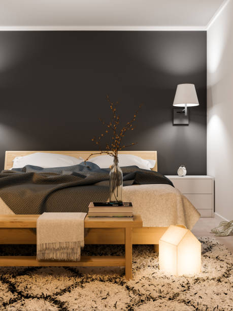 modern bedroom interior - nelleg stock photos and pictures