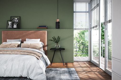 Modern interior of bedroom with green wall, 3d render