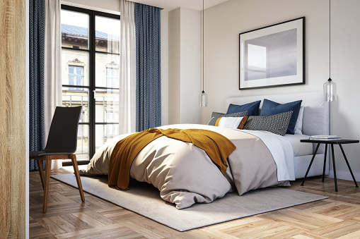 Modern interior of bedroom with beige, blue and yellow colors, 3d render