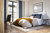 istock Modern bedroom interior - stock photo 1303674434