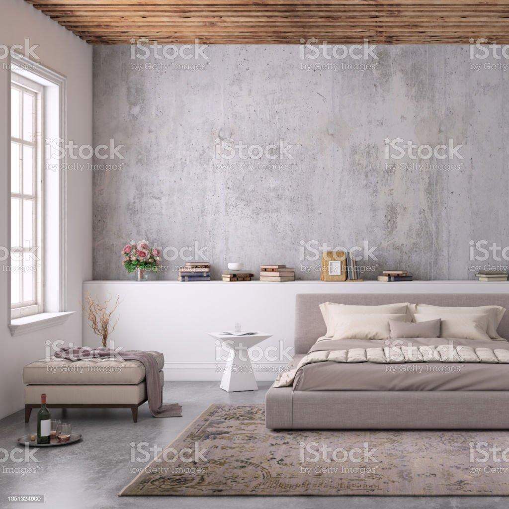 Moderne Schlafzimmer Innenraum Mit Leere Wand Für Textfreiraum Stockfoto  und mehr Bilder von Behaglich