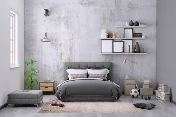 moderne schlafzimmer innenraum mit leere wand für textfreiraum - shabby deko stock-fotos und bilder