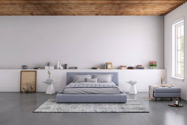 Modern bedroom interior with blank wall for copy space Modern bedroom interior, with bed, night tables, lamps, and many details around. Many books and decoration, wall is rich in texture. Copy space background template render bed furniture stock pictures, royalty-free photos & images