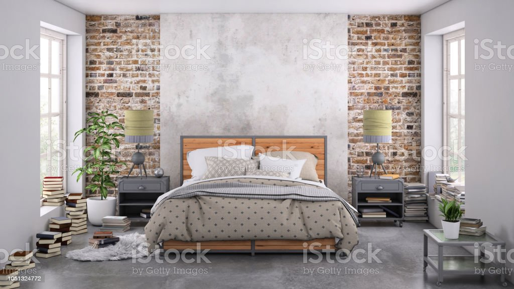 Modern Bedroom Interior With Blank Wall For Copy Space Stock Photo Download Image Now Istock