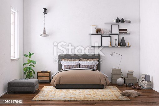 Modern bedroom interior, with bed, night tables, lamps, and many details around. Many books and decoration, wall is rich in texture. Copy space background template render