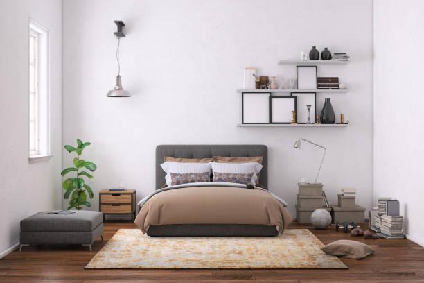 moderne schlafzimmer innenraum mit leere wand für textfreiraum - schlafzimmer stock-fotos und bilder