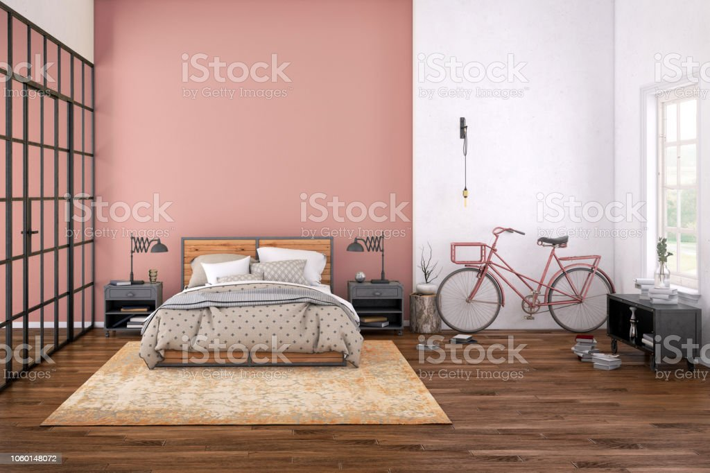 Modern bedroom interior with blank wall for copy space stock photo