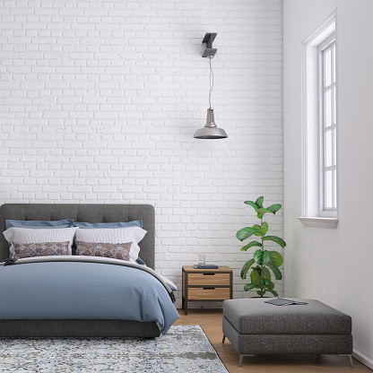 Modern bedroom interior with blank wall for copy space