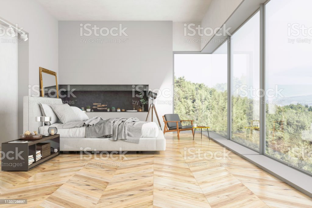 . Modern Bedroom Interior With Nature View Stock Photo   More Pictures