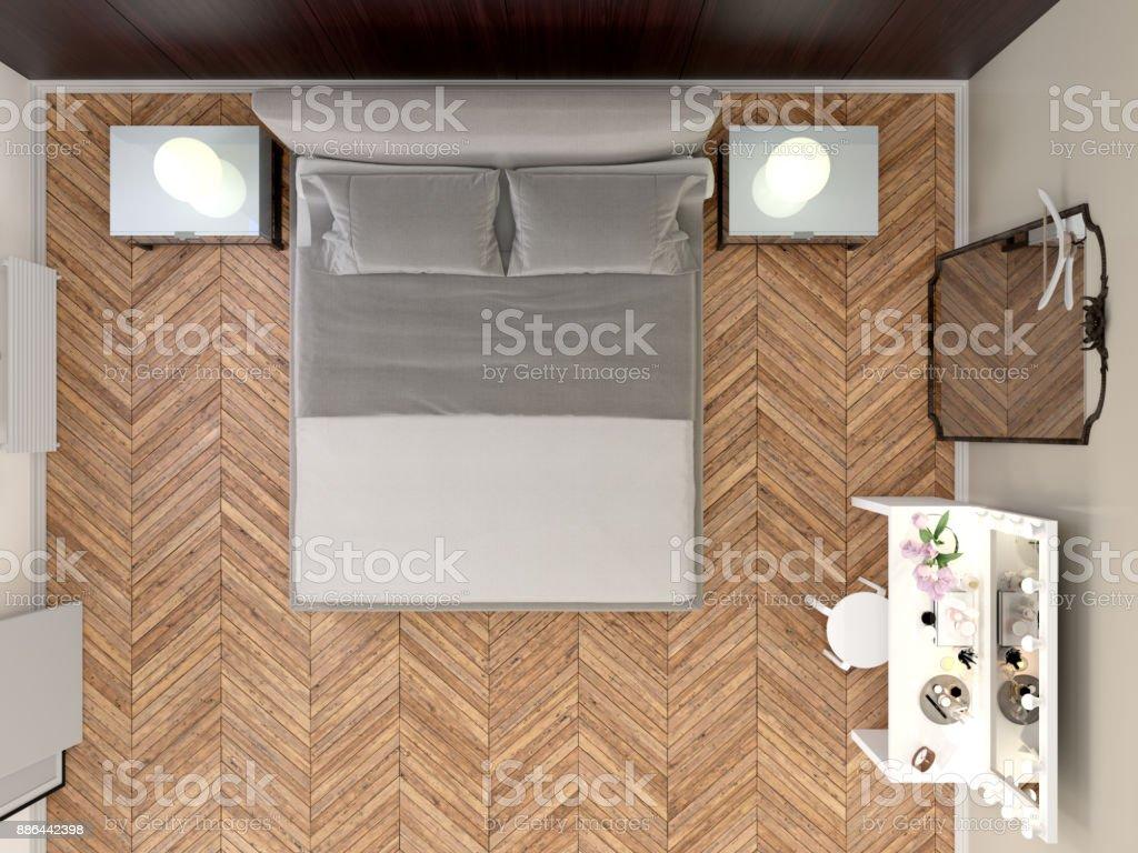 Moderne Schlafzimmer mit minimalistischen Stil, Draufsicht – Foto
