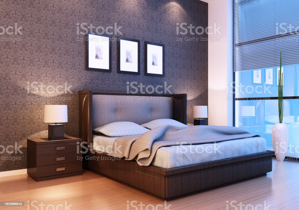 Modern Bedroom Night royalty-free stock photo