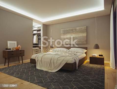 A side picture of a modern bedroom with a big closet.