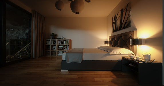 Digitally generated modern bedroom at night  The scene was created in Autodesk® 3ds Max 2020 with V-Ray 5 and rendered with photorealistic shaders and lighting in Chaos® Vantage with some post-production added.