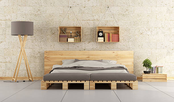 Modern bedroom Modern bedroom with bed pallet on brick wall bed furniture stock pictures, royalty-free photos & images