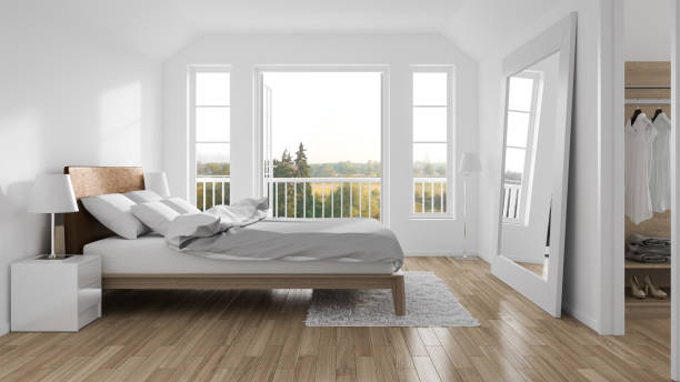 modern bedroom - nelleg stock photos and pictures