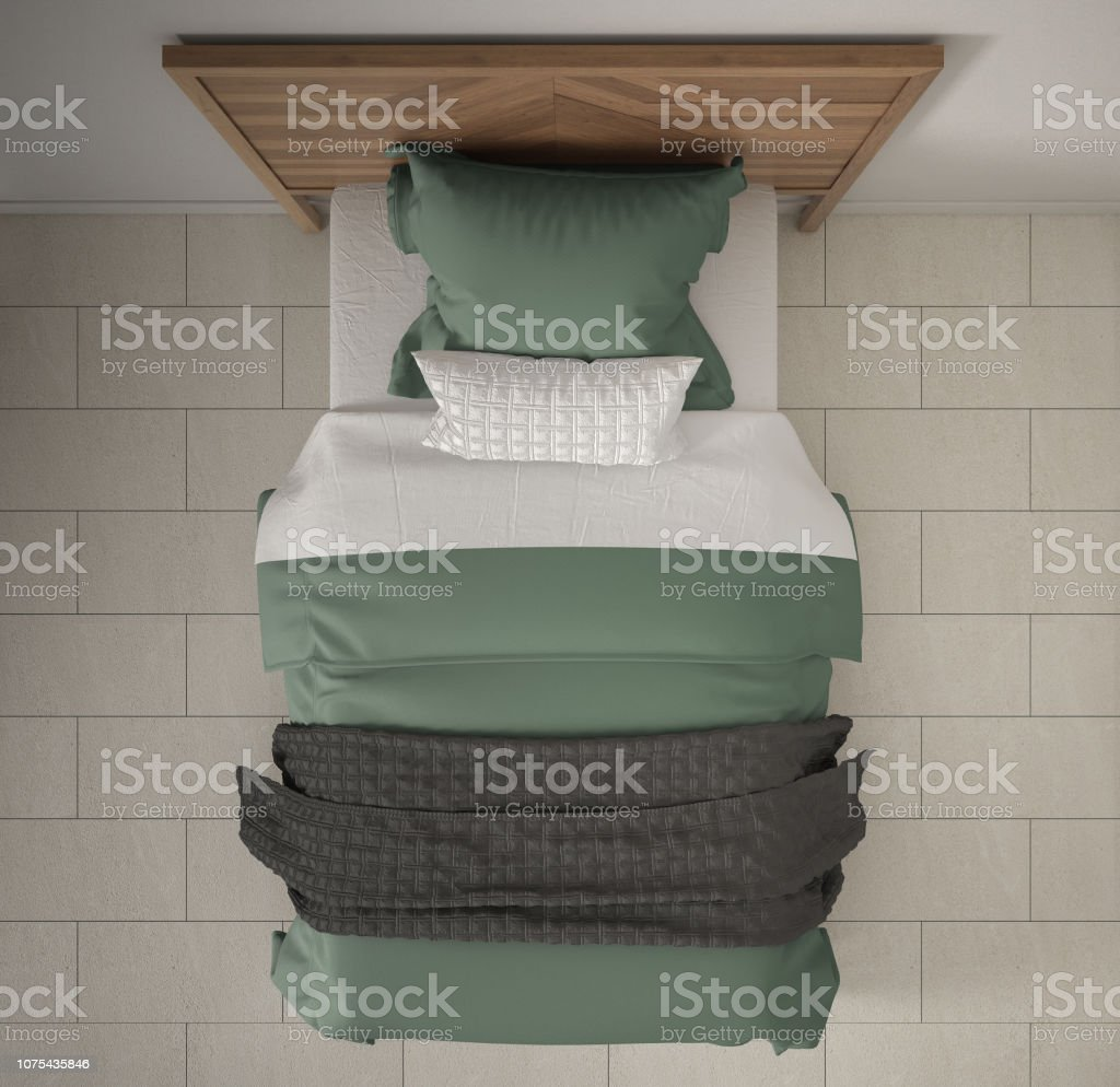 Modern Bedroom Top View Closeup On Single Wooden Gray And Green Bed Marble Floor Contemporary Interior Design Stock Photo Download Image Now Istock
