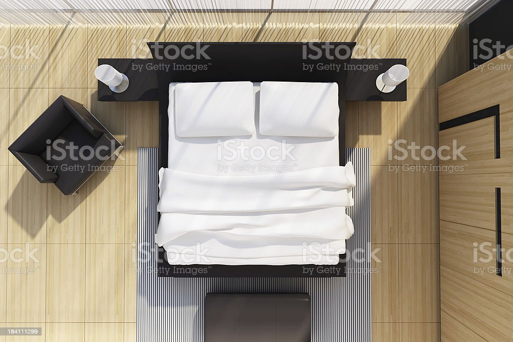 Modern Bedroom TOP view royalty-free stock photo