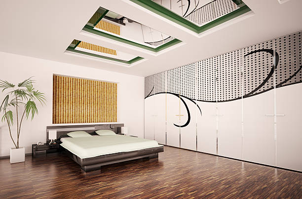 Modern bedroom with 3D artwork on the wall stock photo