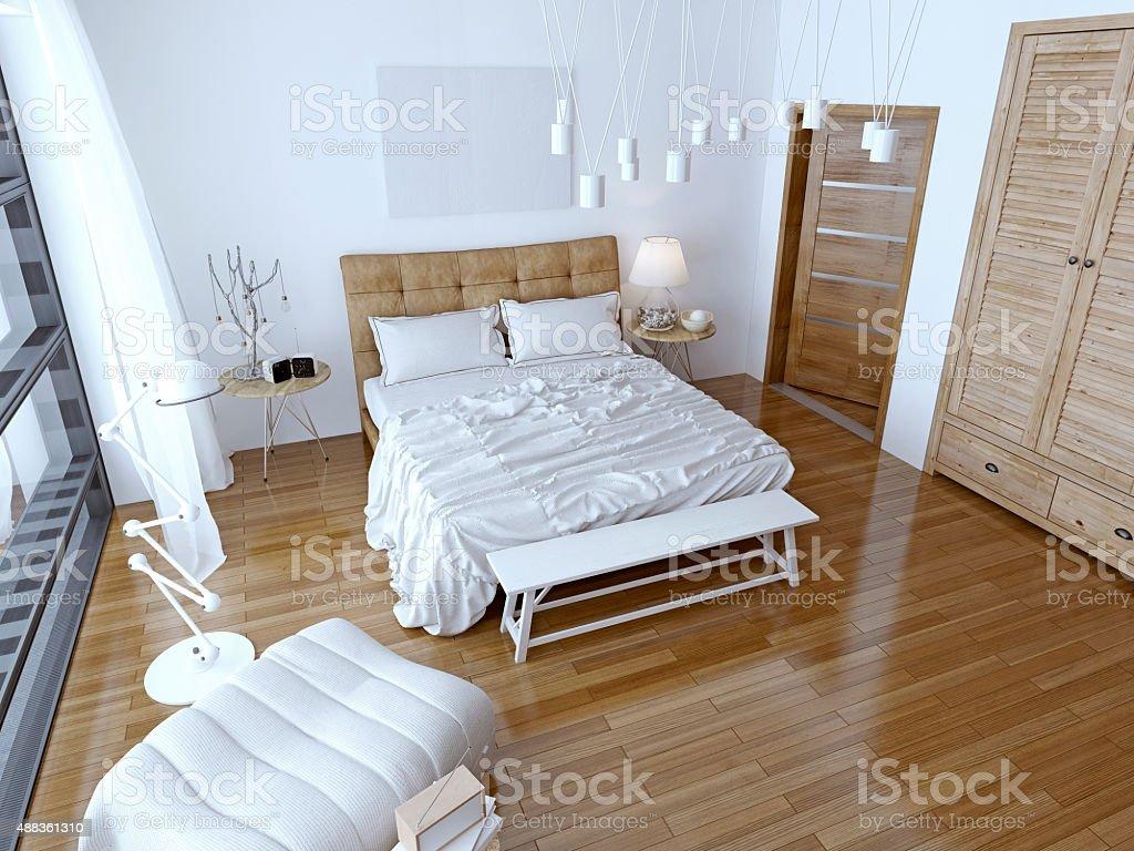 Camera Da Letto Moderna Marrone : Moderna camera da letto con letto marrone e bianco muro