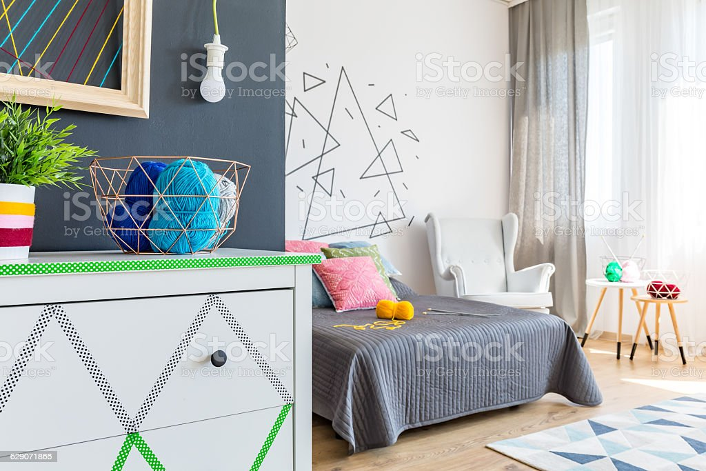 Modern bedroom with commode stock photo