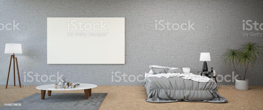 Moderne Schlafzimmer Mit Leeren Leinwand Panorama Stockfoto ...