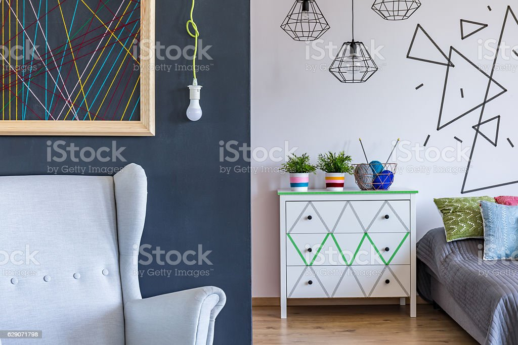 Modern bedroom with geometrical motives stock photo