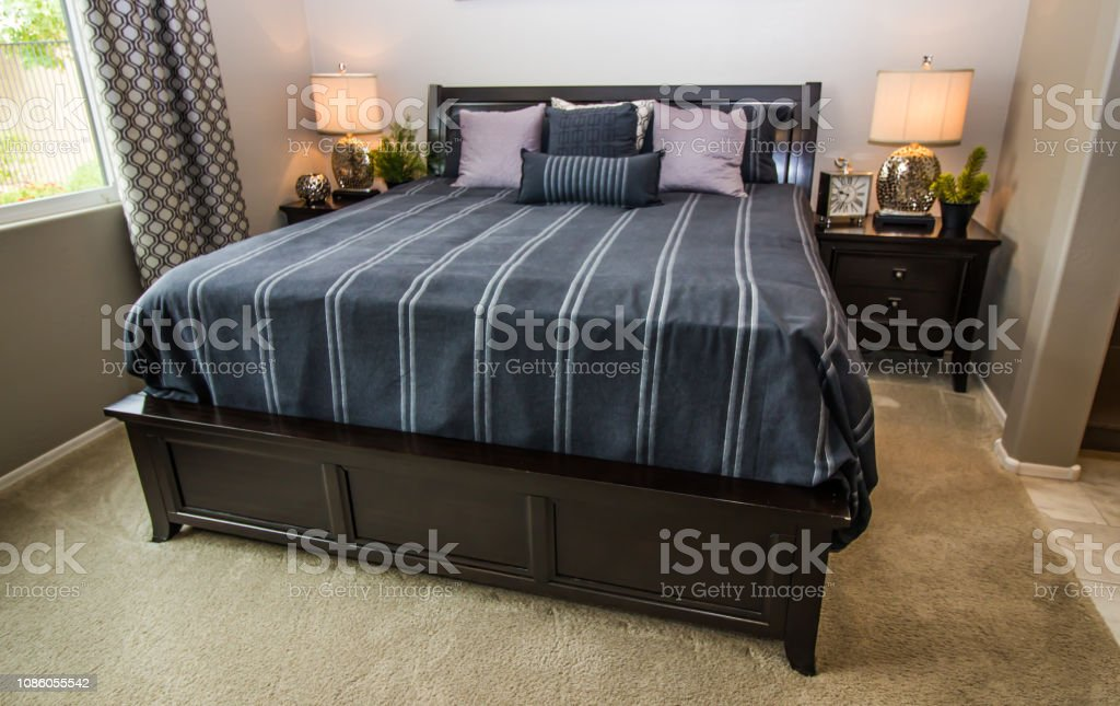Modern Bedroom With Large Bed Stock Photo Download Image Now Istock