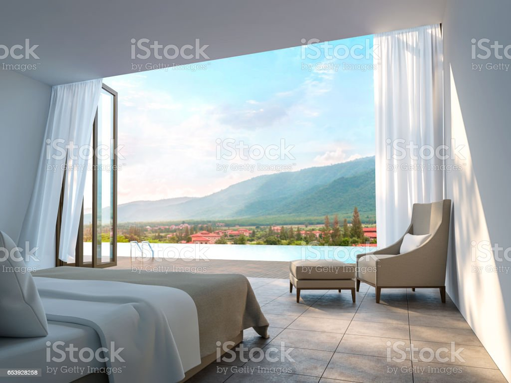 Modern Bedroom with mountain view 3d rendering Image stock photo