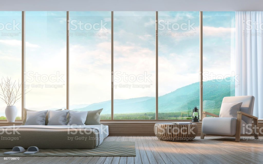 Modern bedroom with mountain view 3d rendering Image royalty-free stock photo