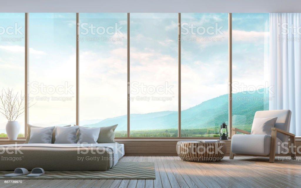 Moderne Schlafzimmer mit Blick auf die Berge 3D-Rendering Bild – Foto