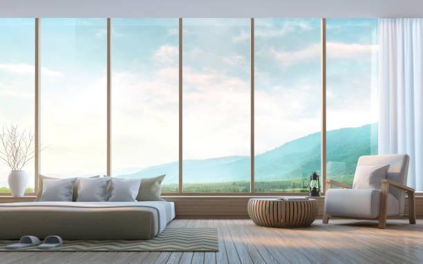 moderne schlafzimmer mit blick auf die berge 3d-rendering bild - hotel in den bergen stock-fotos und bilder