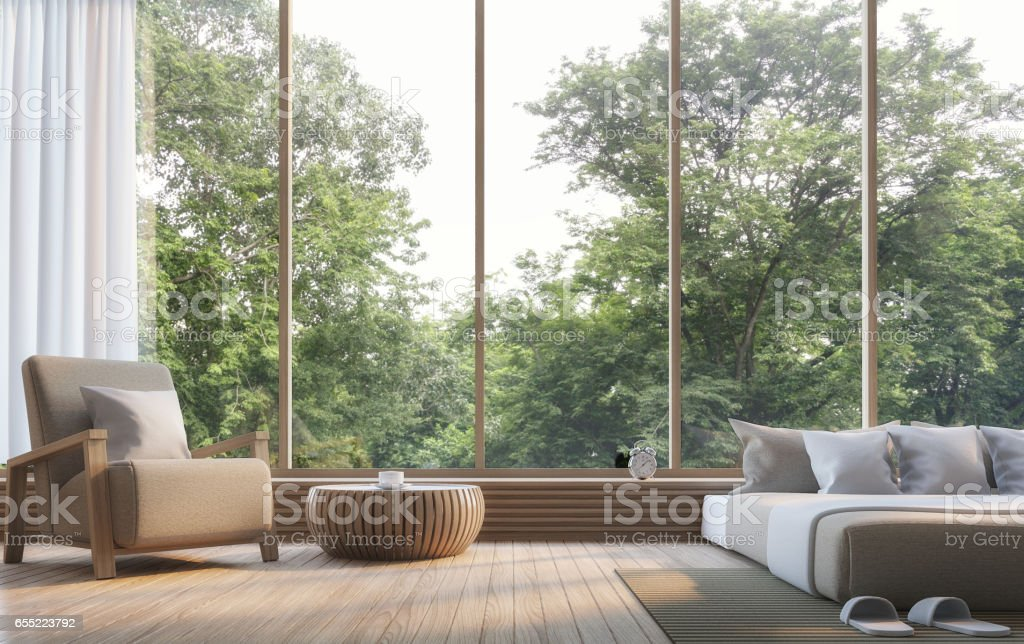 Modern bedroom with nature view 3d rendering Image stock photo