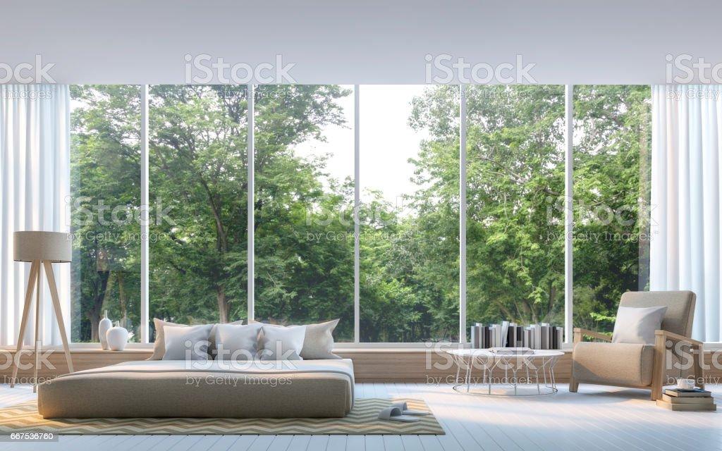 Moderne Schlafzimmer Mit Natur Blick 3drendering Bild Stock ...