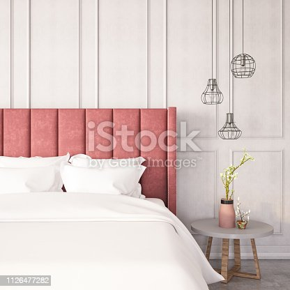 Modern room with pink bed and decors