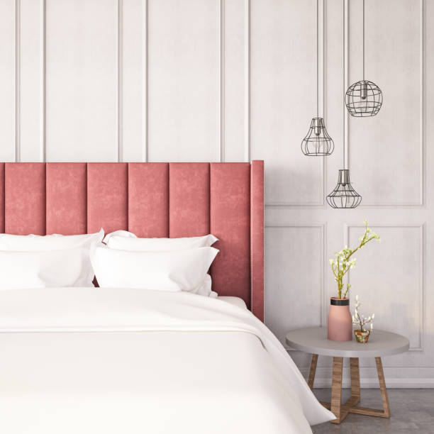 Modern Bedroom with Pink Bed Modern room with pink bed and decors bed furniture stock pictures, royalty-free photos & images