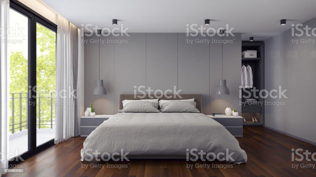 Moderne schlafzimmer und dressing innenraum graue raumkonzept d