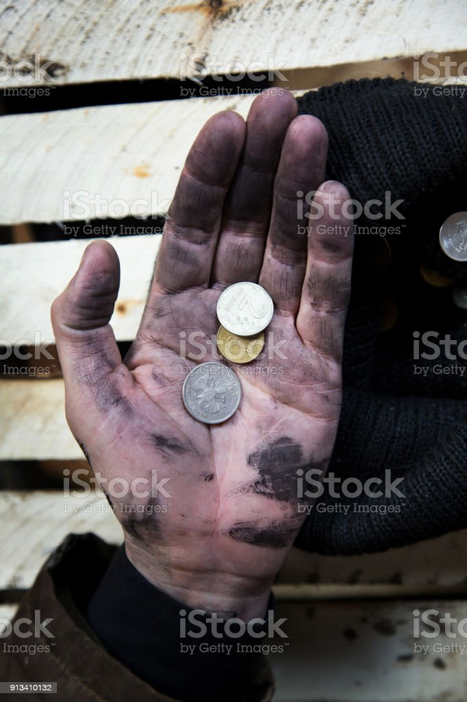Modern beggar Russia 2000. stock photo