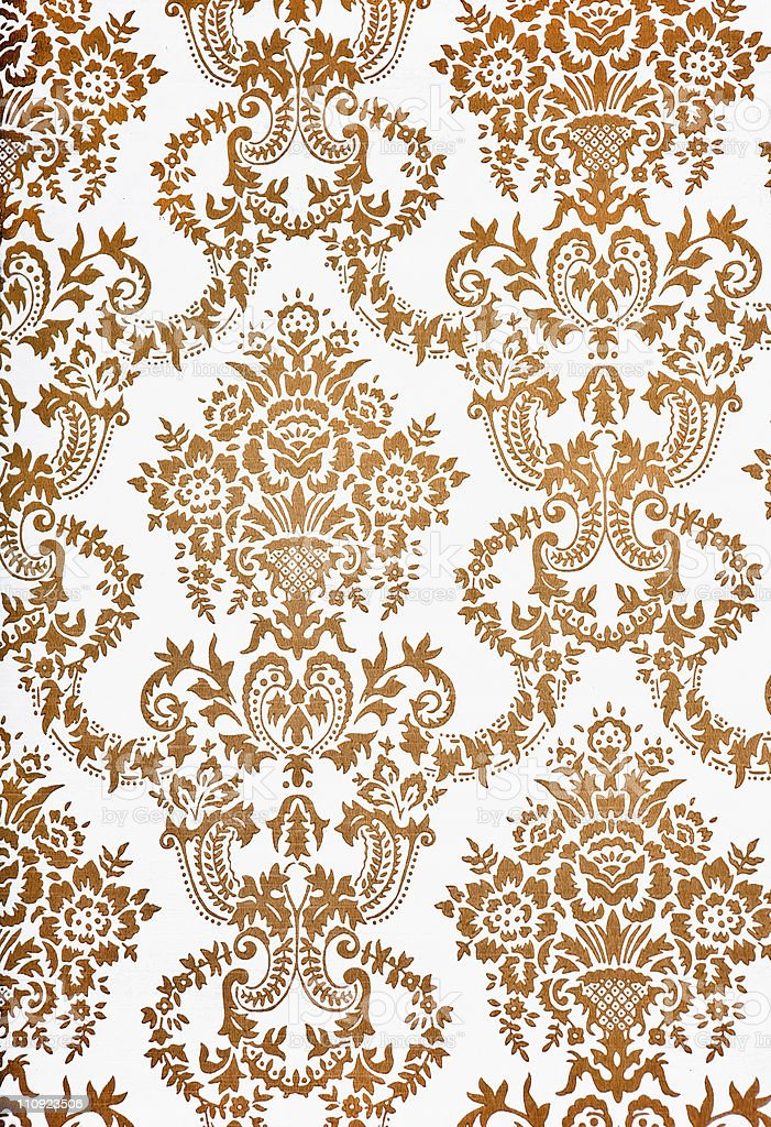 Modern Beige damask floral pattern wallpaper royalty-free stock photo