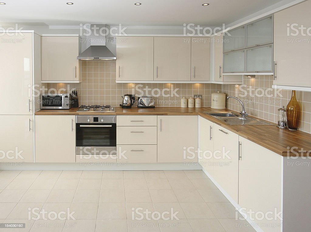 Modern Beige Kitchen Interior Royalty Free Stock Photo