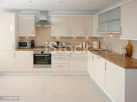 istock Modern Beige Kitchen Interior 154030192