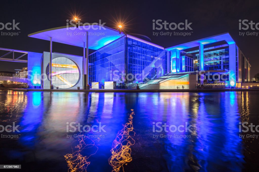 Modern Berlin government district with Spree river at night, central Berlin Mitte, Germany stock photo