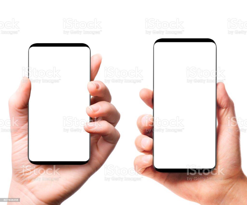 Moderno teléfonos inteligentes bezelless en manos - foto de stock