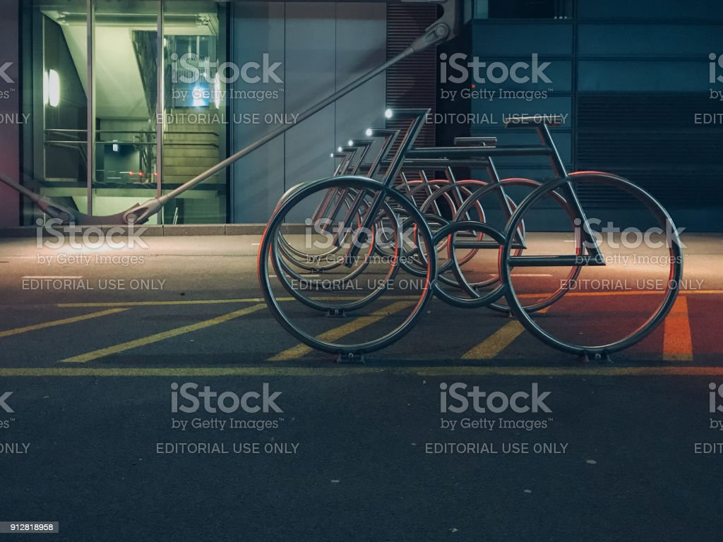 Modern Bike racks at Barcode designed by MAD Architects stock photo