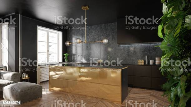 Modern black and gold kitchen interior design picture id896315974?b=1&k=6&m=896315974&s=612x612&h=hfcns 2gwteeorw0fl1mga76a9dudtuune8eewk5lb8=